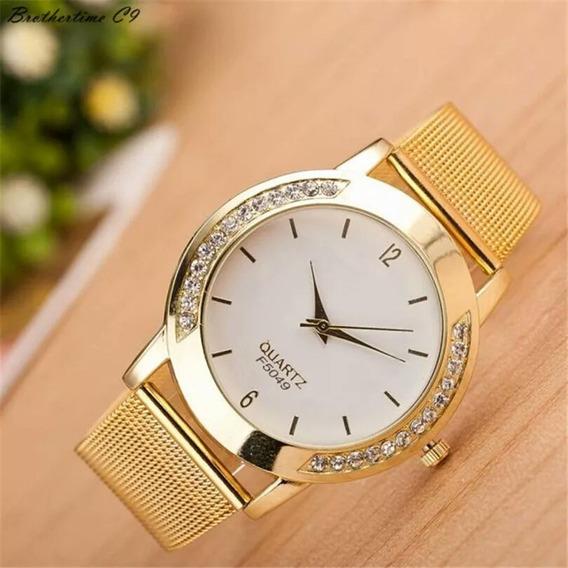 Relógio Quartz Com Pedras De Brilhante E Dourado Lindo