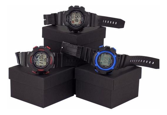 Kit 3 Relógio Orizom Sport Original Preto Azul Vermelho Luz De Led + Caixa