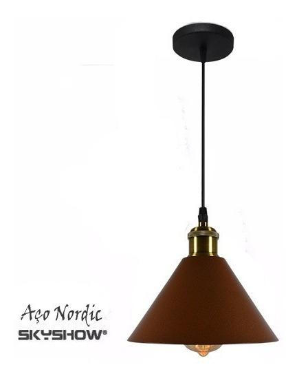 Pendente Cone Aço Corten C/ Pendente Duplo + 5 Lampada Arandela