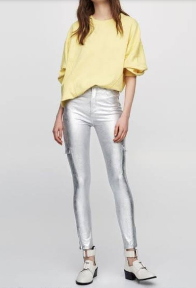 Jeans Plateado Metálico Ala Cintura Skiny Entubado Pull&bear