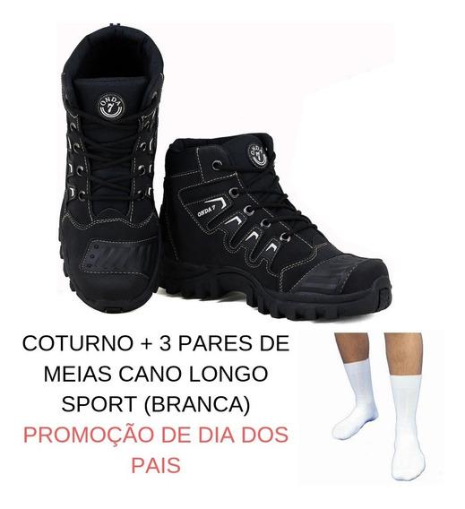 Tenis Masculino Coturno Botinha Couro Ecologico Promoção De Botas De Moto Couro Ecológico Trilha E 3pmeias Branca