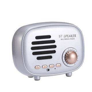 Alto Falante Bluetooth Retrô Estilo Americano Rádio Fm Prata