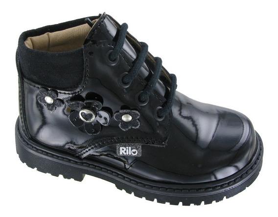Botas Para Niña Cordones Ca5900 - Negro Charol