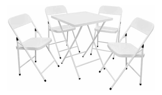 Conjunto Mesa De Ferro Dobrável Com 4 Cadeiras Açomix
