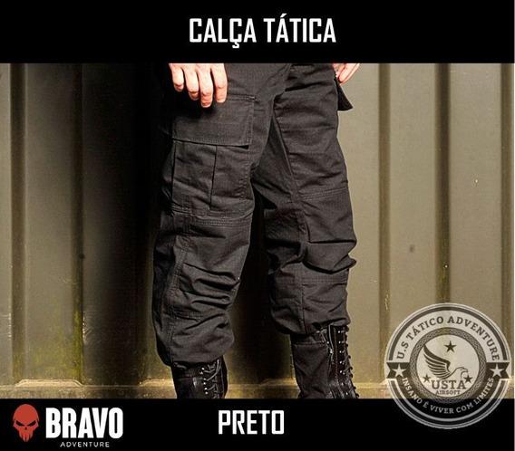 Calça Tática Militar Rips Top Preta 6 Bolsos Bravo Adventure