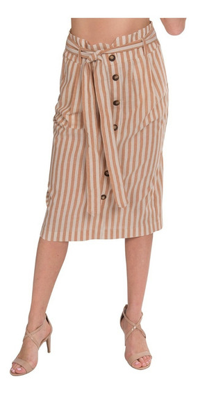 Faldas Mujer Largas Rayada Beige Cinturon Moda X91105