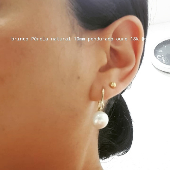Brinco Ouro 18k Perola Natural 8mm