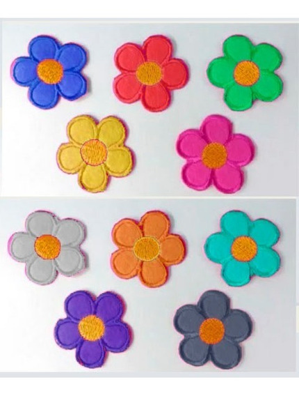 24 Patch Bordado Flor Termocolante Patches Aplique Flores