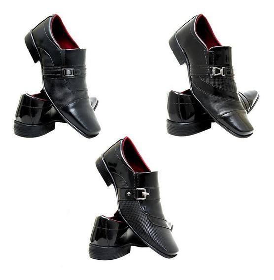 Sapato Social Masculino Verniz3 Pares+1 Carteir Linda