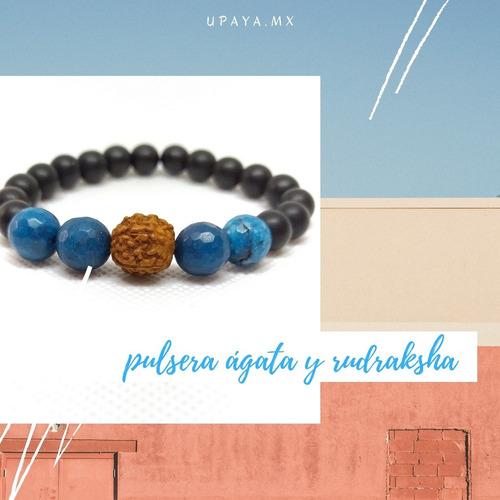 Pulsera De Ágata Azul Con Rudraksha