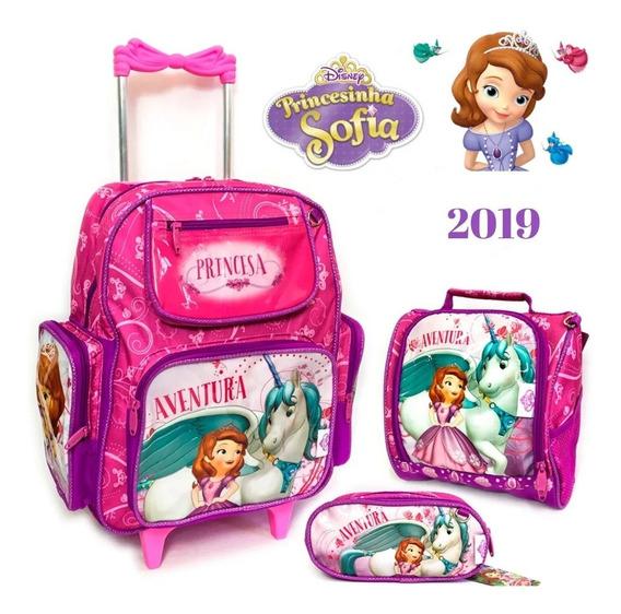 Kit Mochila Infantil Sofia Lancheira + Estojo 2020 Original
