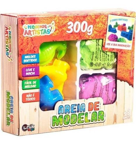 Conjunto Areia De Modelar Colorido 300g Unik Am1820-p