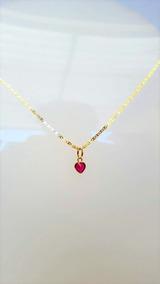 Corrente Feminina Em Ouro 18k Piastrine 40cm Ping Coração