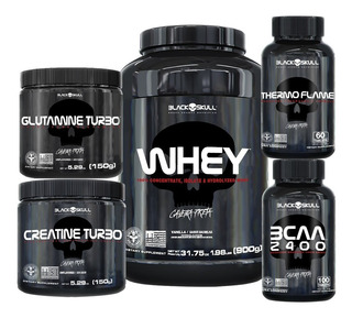 Whey + Bcaa + Creatina + Glutamina + Thermo - Black Skull