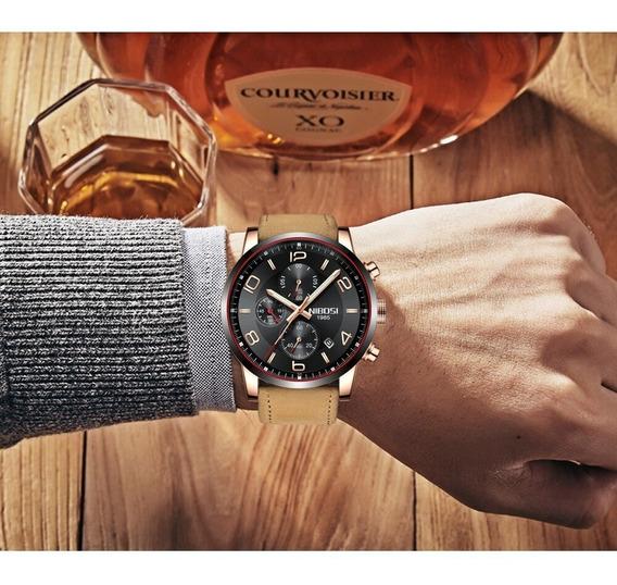 Relógio - Nibosi - Multifuncional - Couro - Em Estoque