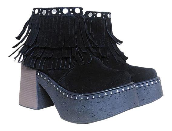 Bota Cuero Savage Botineta Dama Zapato Mujer Moda Liviano