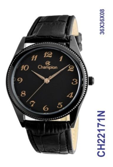 Relógio Champion Masculino Ch22171n Preto Couro