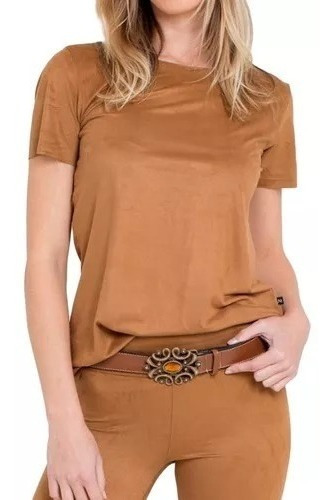 Blusa Camisa Suede T-shirt Feminino Moda Promoção