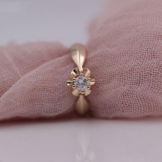Anel Solitário Banhado A Ouro 14k Com Zirconia Cristal