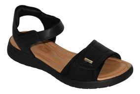 Sandália Comfortflex Ortopédica Velcro Preta