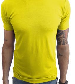 Camisa Slim Fit Básica Gola Redonda Elastano Manga Curta