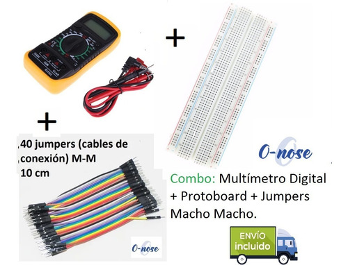 Combo Kit Multímetro Digital + Protoboard + Cables Jumper