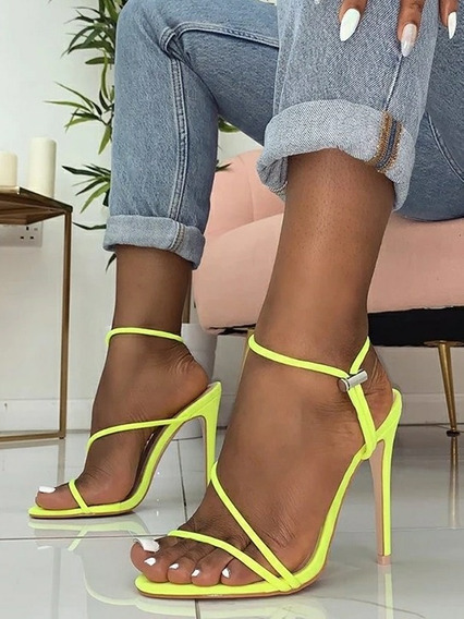 Sandália Neon Salto Alto Brilhante Moda Feminina 2019