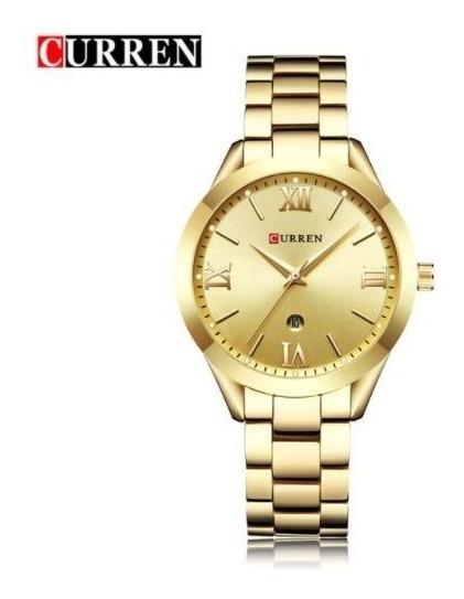 Relógio Feminino Dourado Curren Resistente A Água Barato