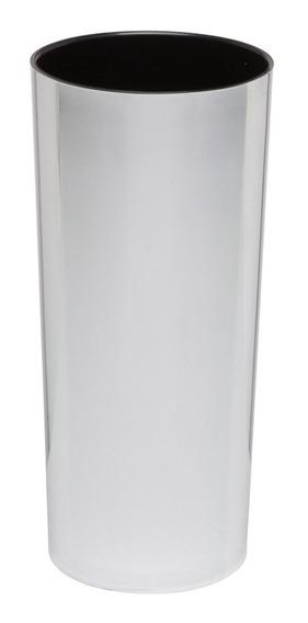 Kit 100 Copos Long Drink Metalizado Prata E Interior Preto