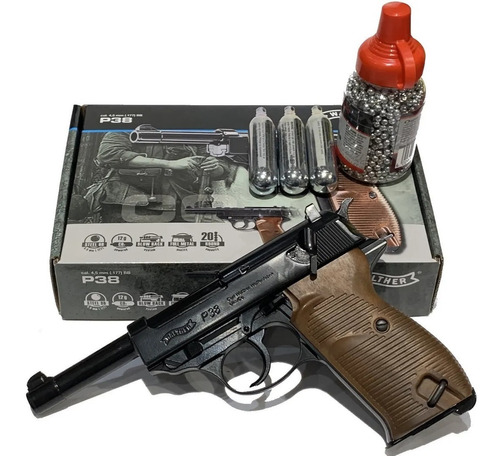 Pistola Co2 Walther P38 Full Metal + 3 Gas + 1500 Bbs 4,5mm