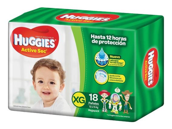 36 Pañales Huggies Active Sec Mega Xg 2 Packs X18