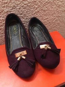 Flats Balerinas De Gamuza Color Morado Uva Num. 3 1/2 Nvas