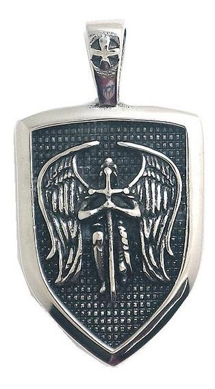 Colar Anjo Miguel Em Aço 316l - Cordão Tam 55, 60 Ou 72