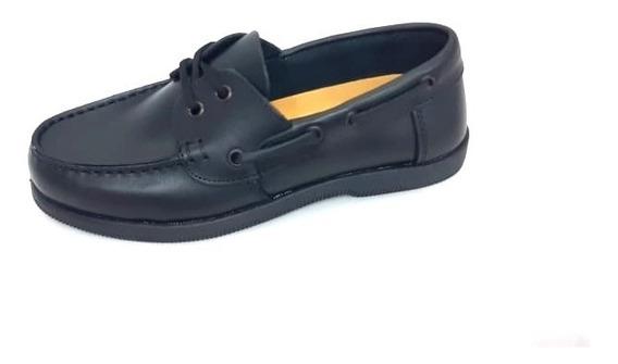 Zapato Cuero Negro Cordón Vestir Colegial Escuela