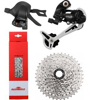 Kit Transmissão Bike Mtb 9v Sunrace Dkm9 Lançamento Full