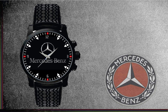 Relógio De Pulso Personalizado Logo Mercedes Preto Borracha