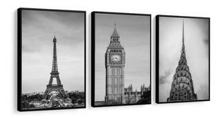 Quadro Cidades Paris Londres New York Torre Eiffel Big Ben