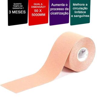 Fita Kinesio Tape Bandagem 5m Por 5cm Pronta Entrega Bege.