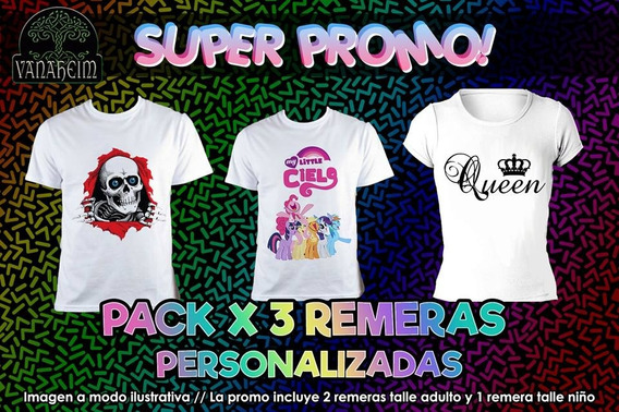 Remeras Personalizadas (pack Familiar X 3) Promo