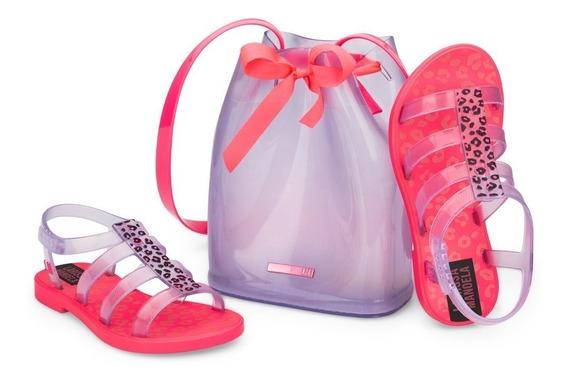 Sandália Larissa Manoela Trend Bag Rosa Neon/vidro 22021