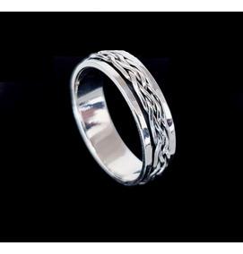 Anel Masculino Prata Bali 925 Largura 6mm