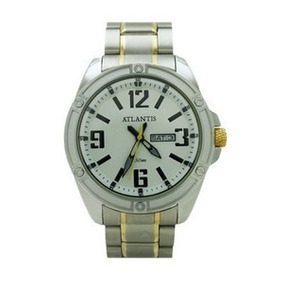 Relógio Atlantis Masculino Dourado Ser.luxo Original G3446
