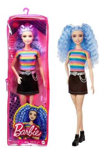 Imagem 1 de 5 de Barbie Fashionistas Doll 170 Cabelo Azul Arcoiris 2021