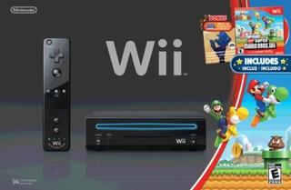 Wii Consola Negra Con Nuevos Hermanos Super Mario Wii Y Cd D