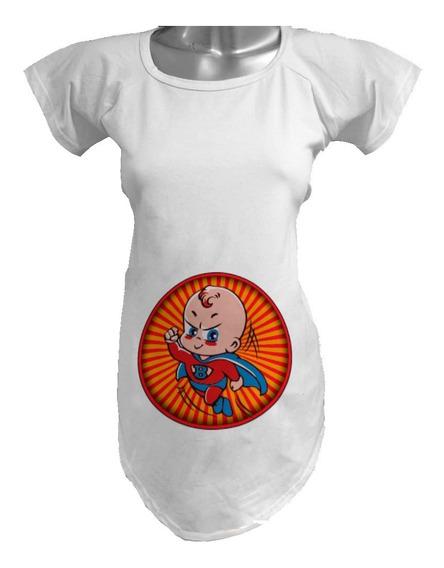 Blusa De Maternidad Embarazada / Superhéroe Súper Bebé / Cap