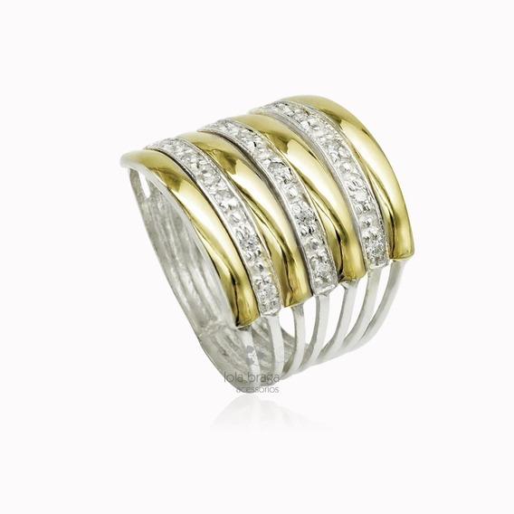 Promoção Anel Em Prata 950 , Zircônias E 4 Apliques De Ouro