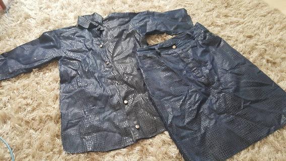 Conjunto Saia E Camisa Jeans Com Detalhe Croco Preto Brilh M