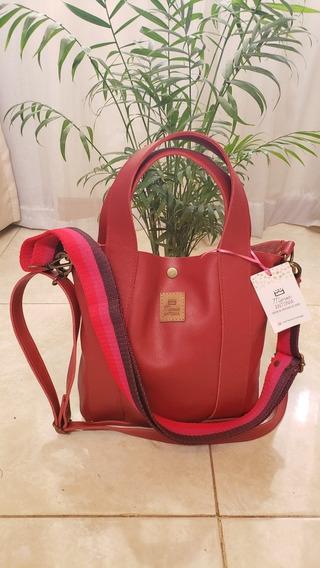 Mini Bags Bandolera Cartera De Cuero Vacuno Chica Rojo