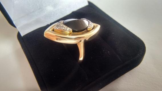 Anel Em Ouro; Ouro Branco; Ônix E Diamantes!