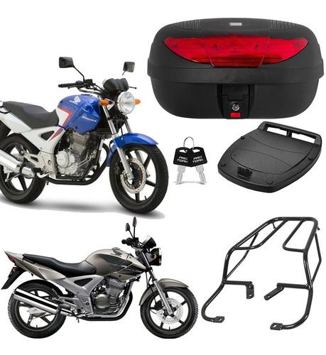Imagem 1 de 10 de Bau Moto Bauleto 45 Litros + Bagageiro Honda Cbx Twister 250